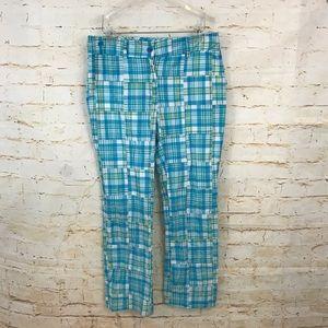 Lily Pulitzer 6 blue yellow plaid pants euc